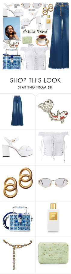 """Wide-Leg Demin"" by voguefashion101 ❤ liked on Polyvore featuring Frame, Prada, Dolce&Gabbana, Laura Lombardi, Versace, Tom Ford, CÉLINE and Pré de Provence"