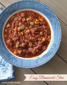 Easy Brunswick Stew to warm you up on cold nights or to add to your game day menu | Simply Southern Baking