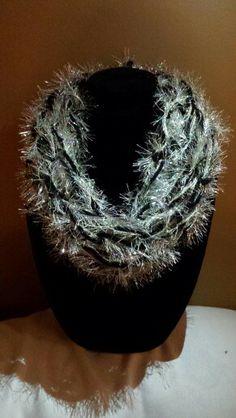 Chunky black and silvery eyelash yarn. Knit Scarves, Arm Knitting, Cowls, Knits, Eyelashes, Sassy, Crocheting, Knit Crochet, Festive