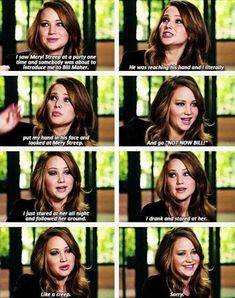 Jennifer Lawrence - my favorite thing is that fame isn't going to her head. She's as starstruck as the next person.
