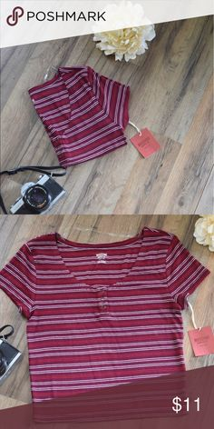 STRIPED CROP TOP This crop top isn't too short. It would be perfect with high waisted jeans Mossimo Supply Co Tops Crop Tops