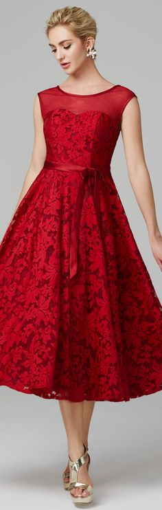 A-Line Illusion Neck Tea Length All Over Floral Lace Cocktail Party / Homecoming Dress with Bow(s) by TS Couture®