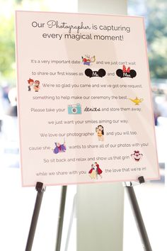 Disney Themed Wedding at The Grove in Houston, Texas Disney inspired wedding at The Grove in Houston, Texas. Disney wedding theme, Disney wedding r. Unplugged Wedding Sign, Wedding Ceremony Script, Wedding Signs, Diy Wedding, Wedding Reception, Dream Wedding, Wedding Day, Wedding Venues, Budget Wedding