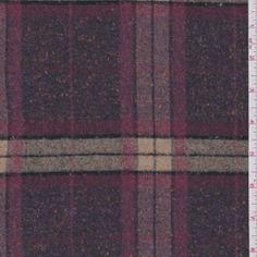 Plum Plaid Flannel Suiting - Discount Fabrics