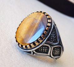 tiger eye semi precious natural stone men ring by AbuMariamJewels