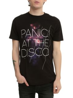 All you sinners stand up sing hallelujah! And make sure you're wearing this Panic! At The Disco tee while doing it. It's black with the band's logo on a galaxy background.