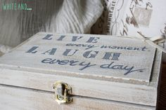 Guest box Live every moment, laugh every day, guest book, wood box. Buy it here for $43,74: https://www.etsy.com/listing/234752806/guest-box-live-every-moment-laugh-every?ref=listing-shop-header-0 #box #wedding #home #live #laught #everyday #everymoment #shabbychic #homedecor #madeinitaly #whiteand #etsy #handmade #handpainted