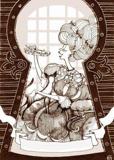 Made by: Katya Bauman - (Keyhole and woman eating)