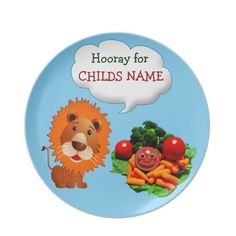 Personalized Dinner Plates for Kids to Eat Veggies.  Lion Gifts are sooo Cute for Babies and Kids. Shirts, Birthday Shirts to Type in their AGE and or NAME and Message.  Watch Me Grow Photo Albums and so much more. Give an extra special and affordable Personalization Gifts.  ALL Cute Lion Gifts CLICK HERE: http://www.zazzle.com/littlelindapinda/gifts?cg=196305191942494133&rf=238147997806552929*/   ALL of Little Linda Pinda Designs CLICK HERE: http://www.Zazzle.com/LittleLindaPinda*/