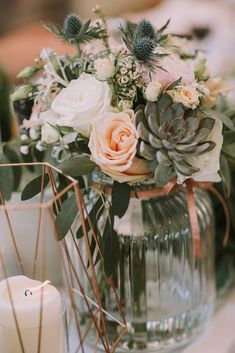 Wedding Bouquets With Succulents | Rebecca Roundhill Photography