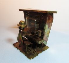 Copper Music Box Piano Player, Plays The Sting, c 1970, Metal Art by BeanzVintiques on Etsy