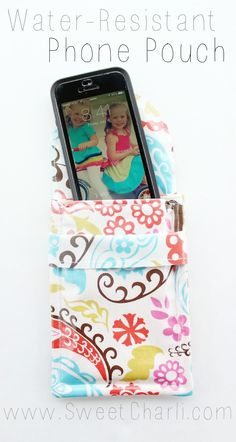 Make your own Water-Resistant Phone Pouch - I love that I can use cute prints for it!