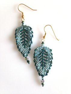 Leaf Earrings by BeadifulByJill on Etsy, £10.00