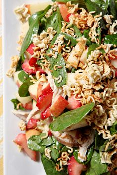 Chicken, Strawberry and Apple Summer Salad is a spinach salad, studded with roasted chicken breast, fresh strawberries and apples, and tastes like summer!