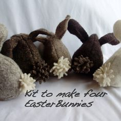 Kit to make Four Recycled Wool Felt Bunnies Easy by FeltedWoolies, $16.00