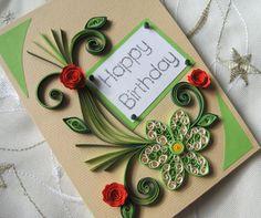 Tarjeta del feliz cumpleaños - tarjeta - Quilled Quilling hecha a mano flores rosas rojas diseño - adornos de papel verde de cal-