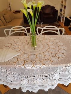 "Crochet table cover set, white lace tablecloth and 8 lace trim napkins, home decor round table linen set, 63"" heirloom wedding table decor"