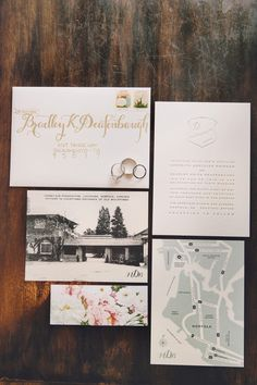 Letterpress Invitations with Postcard and Floral Belly Band