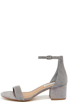 Make your next destination easy street in the easy-walking Steve Madden Irenee Grey Suede Leather Ankle Strap Heels! Charcoal grey genuine suede shapes a minimal toe strap and adjustable ankle strap.