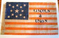 5.5 inch x 9 inch printed on glazed cotton muslin  13 Star American Flag.  s*c
