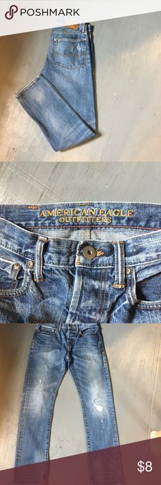 American Eagle Men's Jeans This is a pair of good condition Men's jeans size 28/30 they are from American Eagle and are factory distressed American Eagle Outfitters Jeans Slim