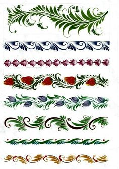 Border ideas or patterns for envelopes etc some are quite intricate but could be simplified One Stroke Painting, Tole Painting, Fabric Painting, Russian Folk Art, Ukrainian Art, Folk Art Flowers, Flower Art, Motif Arabesque, Rosemaling Pattern