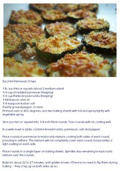 Zuchinni Parmesan Crisps...even my 5 year old loved these!