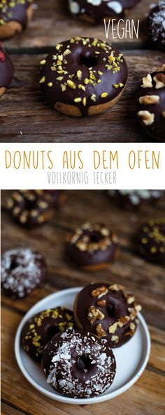 Vegan donuts from the oven - Whole grain donut from the oven -vegan - . - Vegan donuts from the oven – Whole grain donut from the oven -vega Mini Desserts, Brownie Desserts, No Bake Desserts, Dessert Oreo, Coconut Dessert, Donut Recipes, Healthy Dessert Recipes, Brunch Recipes, Donuts Keto