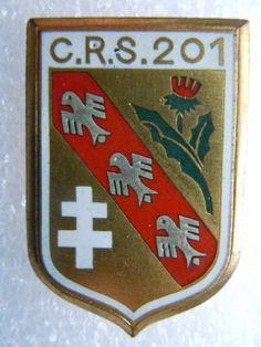 Insigne POLICE CRS 201 NANCY 1953 France ORIGINAL émail Drago OBSOLETE
