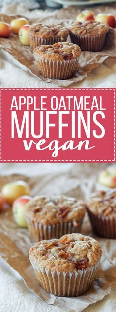 These Apple Oatmeal Muffins are naturally vegan and absolutely full of apple flavor from sautéed apples, apple cider, and applesauce! These healthier muffins are sure to be a breakfast favorite.