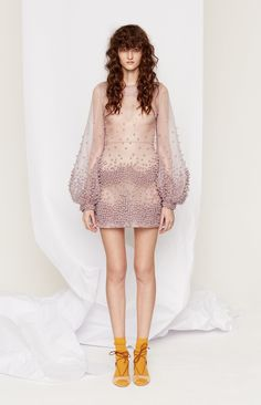Hombre Mauve, Beaded Short Dress with Long, Sheer Bell Sleeves - Roksanda Pre-Fall 2016 Fashion Show