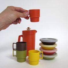 tupperware tea set 1970s. Wow, I forgot about the lid on the pitcher. I used my set all the time.