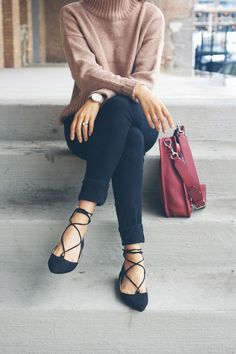 black lace up flats, sweater