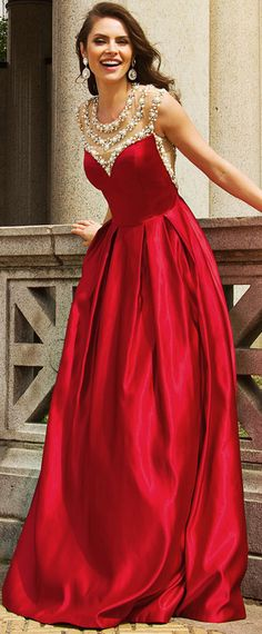Charming Satin Jewel Neckline A-line Evening Dresses With Beadings & Rhinestones