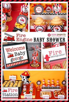 Firefighter Baby Shower Party Supplies | Dalmatian Firefighter Baby Shower Package Personalized MINI Collection ... #kids #kids_stuff