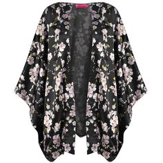 Boohoo Boutique Amy Floral Kimono Jacket featuring polyvore, fashion, clothing, kimono, cardigans, outerwear, sweaters and boohoo.com