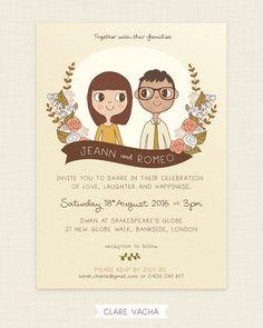 Custom Wedding Invitation Couple Portrait by ClareVacha on Etsy