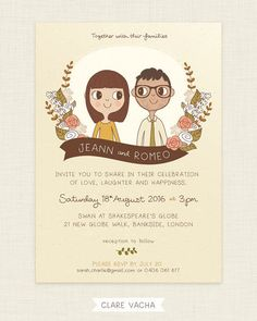 Custom Wedding Invitation Couple Portrait by ClareVacha on Etsy