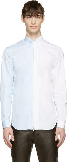 Maison Martin Margiela White & Blue Zip Closure Shirt