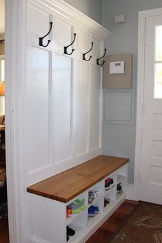 Coat And Shoe Storage, Entryway Shoe Storage, Bench With Shoe Storage, Laundry Room Storage, Wood Storage, Storage Ideas, Laundry Rooms, Garage Storage, Storage Hooks