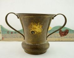 Check out Vintage Rustic Hammered Brass Planter, Urn, or Vase with Brass Handles and a Beautiful Patina, centerpiece on vintagecornerbazaar