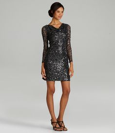 Calvin Klein Long-Sleeve Sequin Dress