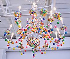 Can't be sweeter! Candy Chandelier for my little girl's room. Just photo. If I can find a similar chandelier, may try making it myself with a glue gun. Reminds me of Hansel and Gretel.