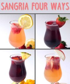 Sangria 4 Ways: strawberry lemonade, berry, mango pineapple, raspberry peach