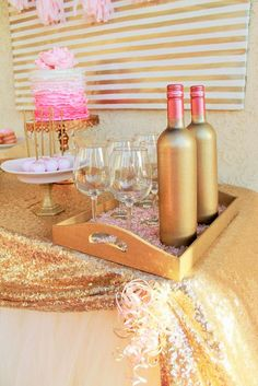 Pink & Gold Birthday Party Ideas! See more party ideas at CatchMyParty.com!