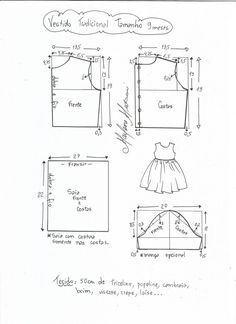 Esquema de modelagem de vestido tradicional tamanho 9 meses. Baby Dress Patterns, Baby Clothes Patterns, Sewing Patterns For Kids, Doll Patterns, Clothing Patterns, Frock Models, Baby Frocks Designs, Cute Black Babies, Baby Blocks