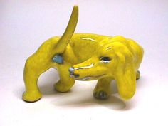 Vintage Dachshund Dog Figurine Made in Italy Yellow Glaze Whimsy Dog