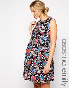ASOS Maternity Skater Dress in Floral Print with Double Layer