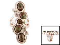 Timna Jewelry Collection(Tm) Oval And Pear Shape Cabochon Unakite 5-stone Copper Ring