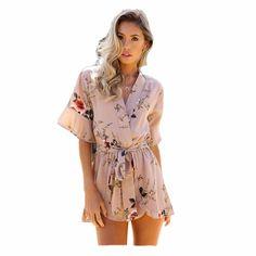 d912838da27f Floral Printed Playsuit Off Shoulder Overalls Casual Deep V Neck Backless  Ruffles Women s Bodysuit 7 Colors